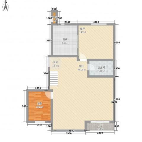 金山家园1室2厅1卫1厨125.00㎡户型图