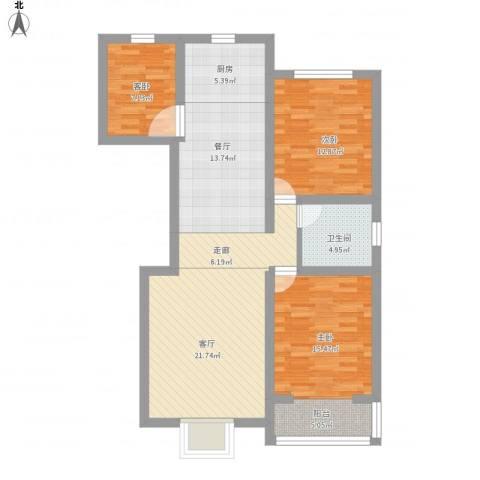 国泰~新都3室2厅1卫1厨120.00㎡户型图