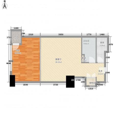 海亮广场一期1室1厅1卫1厨82.00㎡户型图