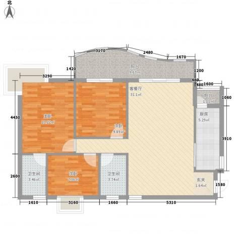 金狮华庭3室1厅2卫1厨119.00㎡户型图
