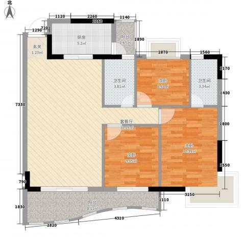 金狮华庭3室1厅2卫1厨114.00㎡户型图
