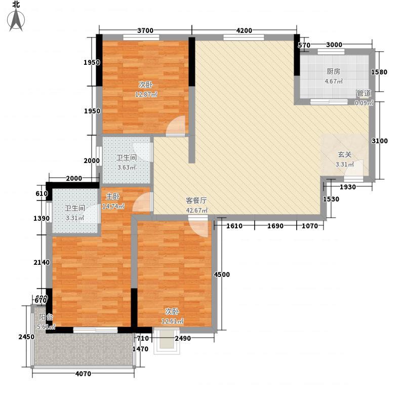 长城天一家园13.31㎡17#S3户型3室2厅2卫1厨