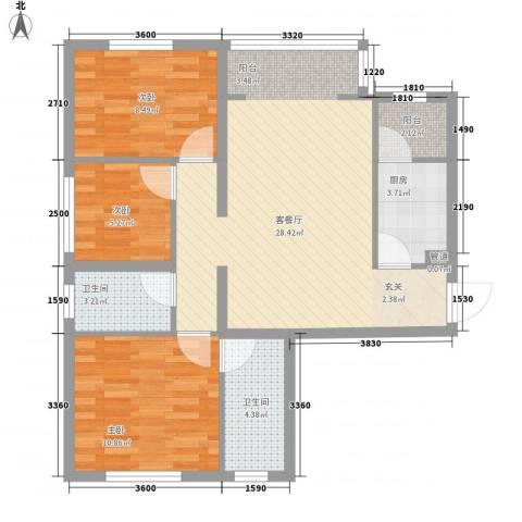 华夏奥韵3室1厅2卫1厨66.54㎡户型图