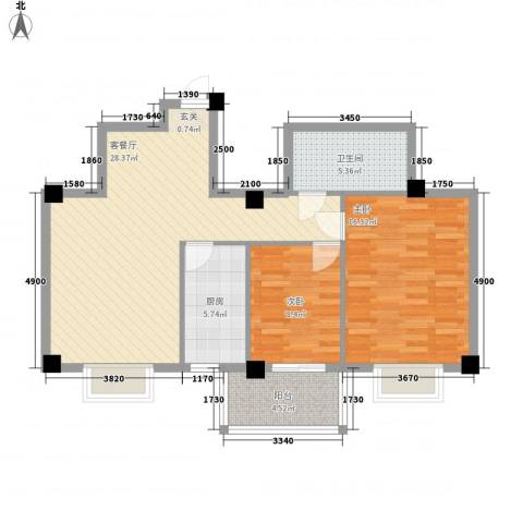菁华领第2室1厅1卫1厨68.71㎡户型图