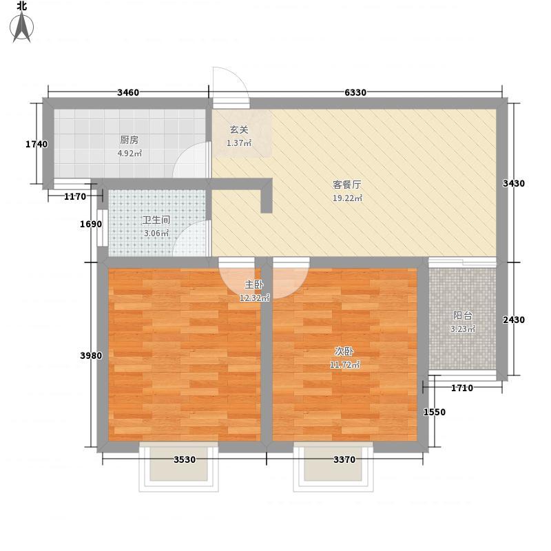 星月城7.12㎡D2户型2室2厅1卫