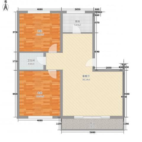 万盛佳园2室1厅1卫1厨113.00㎡户型图