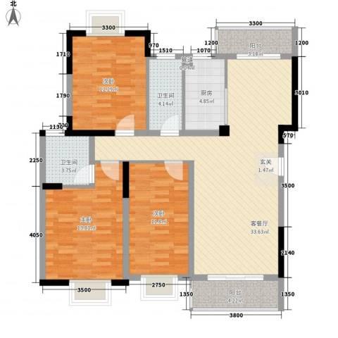 万科松山湖1号3室1厅2卫1厨235.00㎡户型图