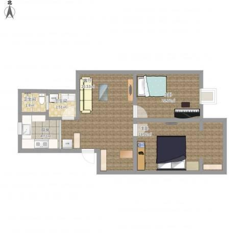 新光花园2室1厅2卫1厨65.01㎡户型图