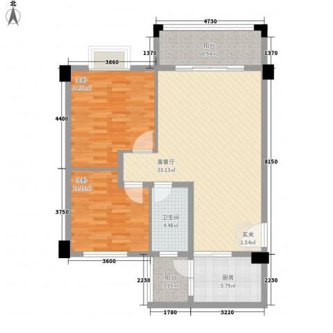 帝景豪庭2室1厅1卫1厨112.00㎡户型图