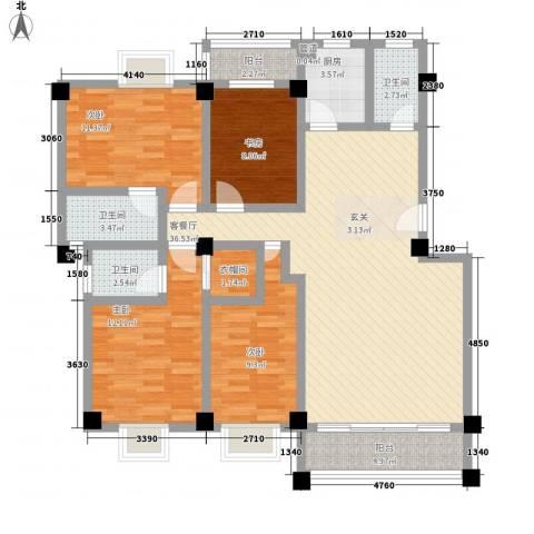 顺景蔷薇山庄四期4室1厅3卫1厨147.00㎡户型图