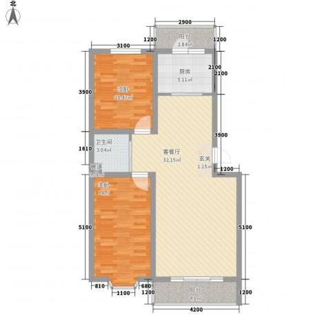 龙宇国际新城2室1厅1卫1厨102.00㎡户型图