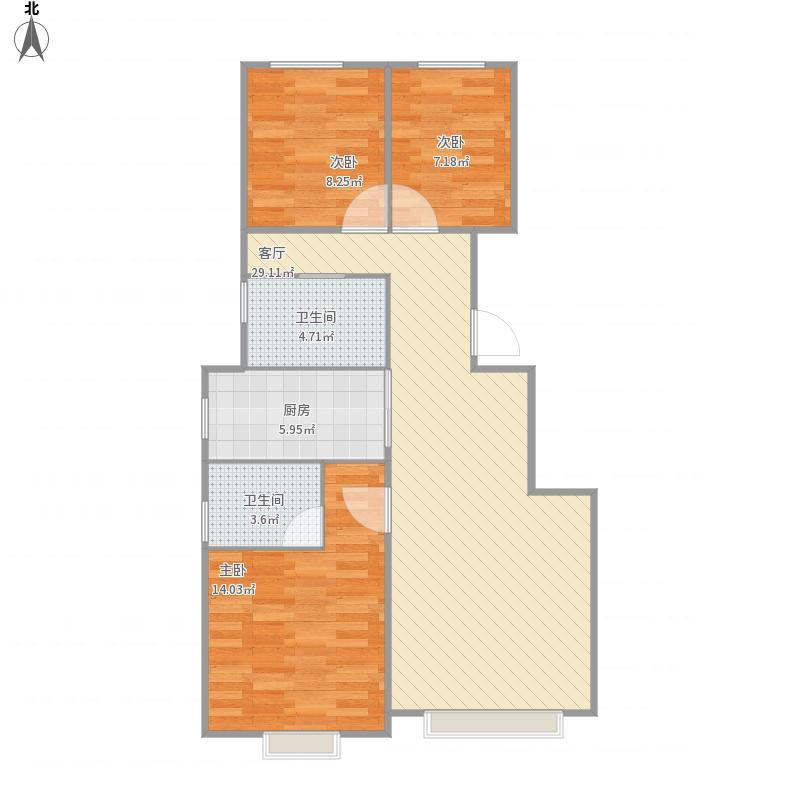 河北-潮白家园4期E2户型-设计方案