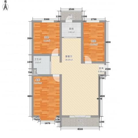 龙宇国际新城3室1厅1卫1厨125.00㎡户型图