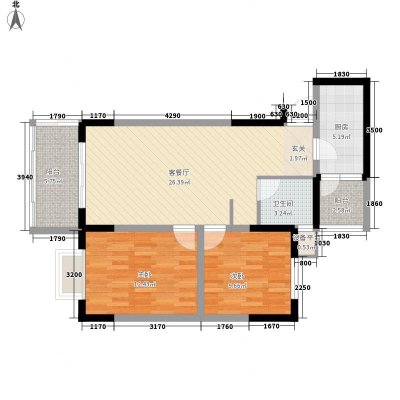 优点社区86.15㎡10号楼B4-2户型2室1厅1卫1厨