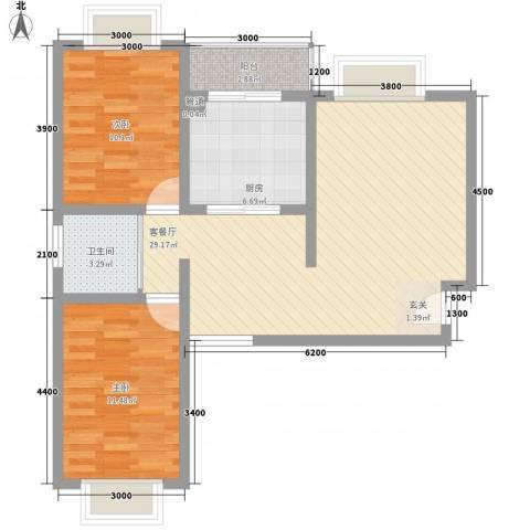 龙宇国际新城2室1厅1卫1厨63.64㎡户型图