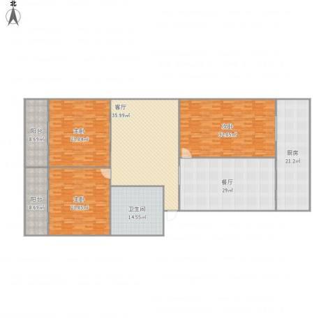 冶金厅宿舍3室2厅1卫1厨261.00㎡户型图
