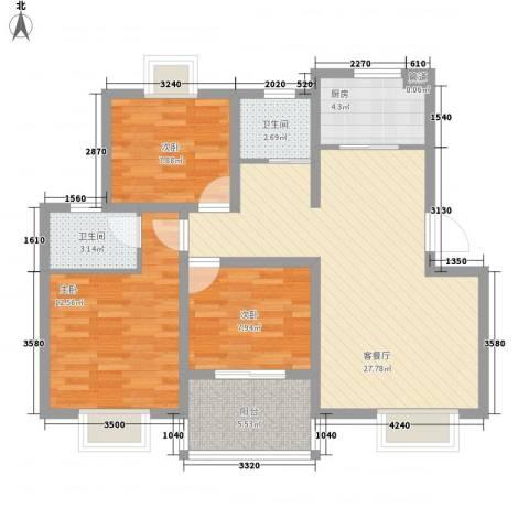 奥体清华苑3室1厅2卫1厨104.00㎡户型图