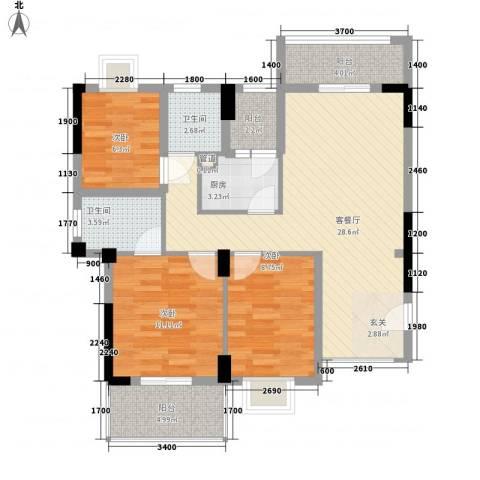 金利蓝湾新城3室1厅2卫1厨75.49㎡户型图