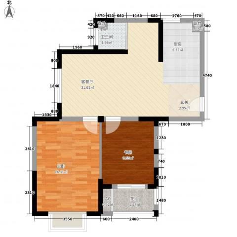 空港一号花园2室1厅1卫0厨89.00㎡户型图
