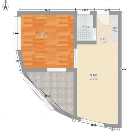 保亭地恒时代1室1厅1卫0厨58.00㎡户型图
