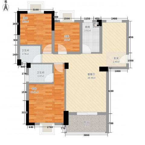 金利蓝湾新城3室1厅2卫1厨71.22㎡户型图