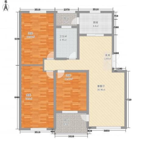 东田丽园三期3室1厅1卫1厨151.00㎡户型图