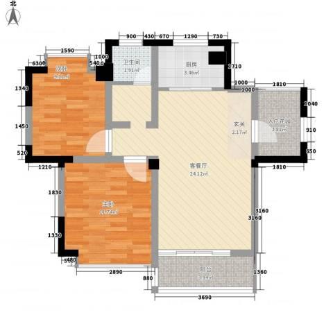 巴黎春天2室1厅1卫1厨85.00㎡户型图