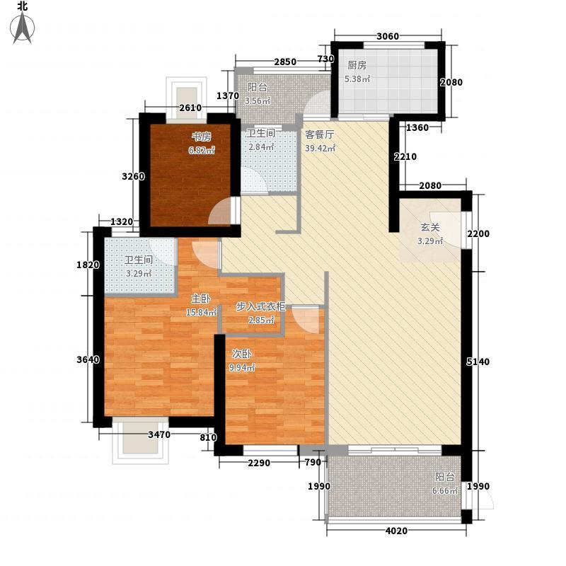 中铁海曦125.78㎡7#楼01单元户型3室2厅2卫1厨