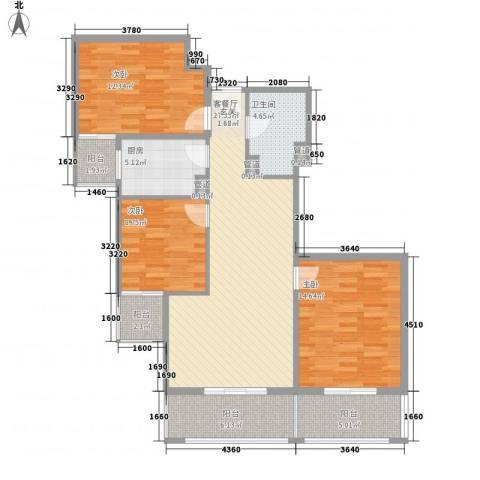 瑞丽江畔3室1厅1卫1厨88.43㎡户型图