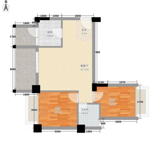 亿力悦海2室1厅1卫1厨68.00㎡户型图