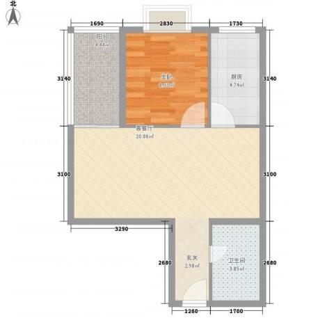 罗宾森广场1室1厅1卫1厨59.00㎡户型图