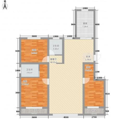 天麓3室1厅2卫1厨136.00㎡户型图