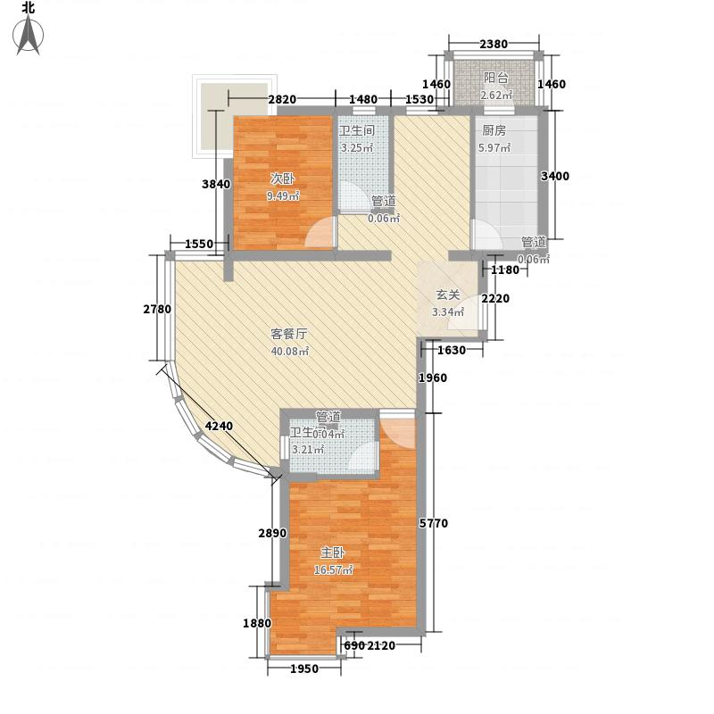 瑞丽江畔15.88㎡4号楼户型3室2厅2卫1厨