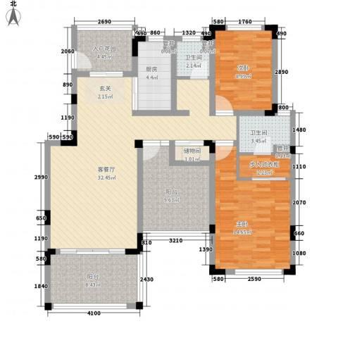 空港一号花园2室1厅2卫1厨135.00㎡户型图