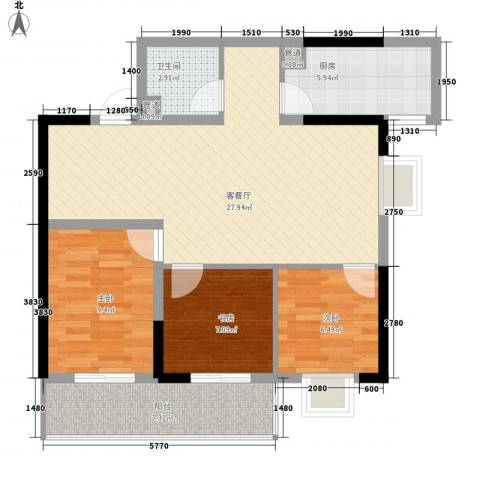 东田丽园三期3室1厅1卫1厨96.00㎡户型图