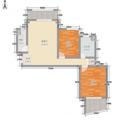 绿地世纪城・塞纳印象2室1厅1卫1厨103.00㎡户型图
