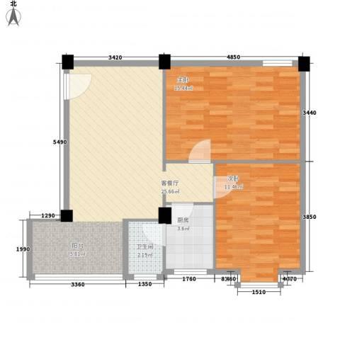 狮岭金辉园2室1厅1卫1厨80.00㎡户型图