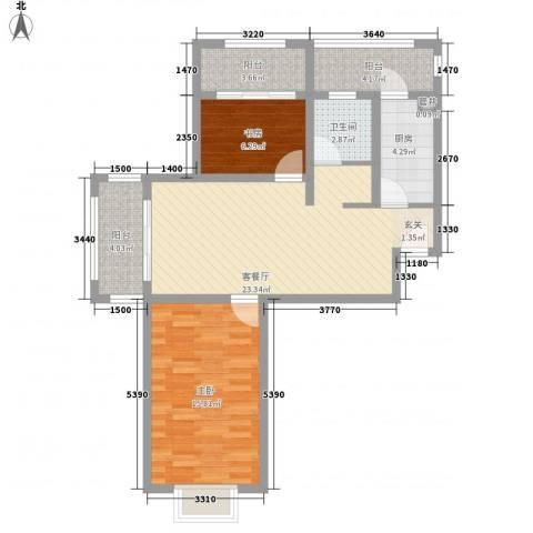 空港一号花园2室1厅1卫1厨95.00㎡户型图