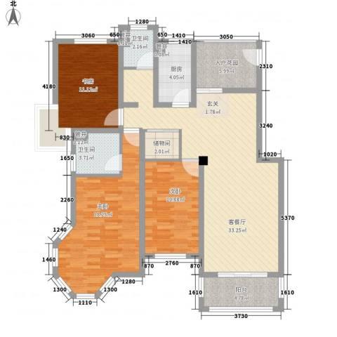 空港一号花园3室1厅2卫1厨140.00㎡户型图