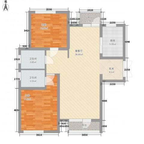 境界梅江观秀2室1厅2卫1厨118.00㎡户型图