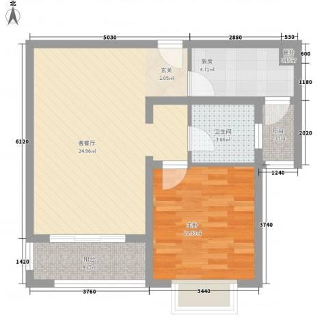 空港一号花园1室1厅1卫1厨74.00㎡户型图