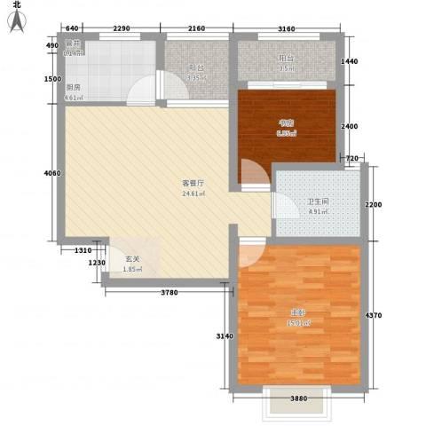 空港一号花园2室1厅1卫1厨92.00㎡户型图