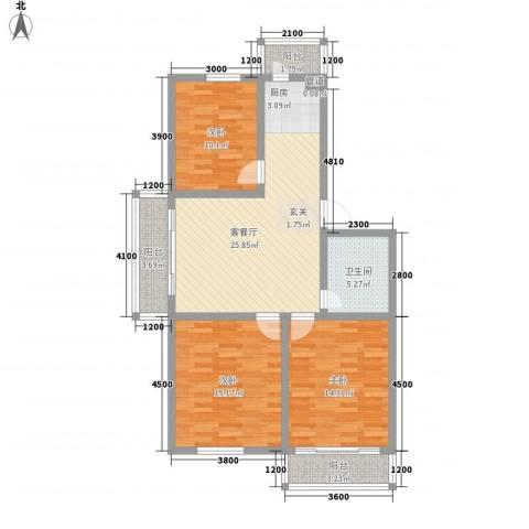 滨河新村3室1厅1卫0厨92.29㎡户型图