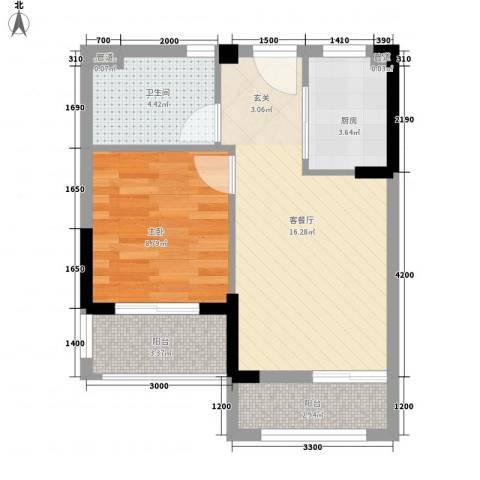 万达西双版纳国际度假区1室1厅1卫1厨50.00㎡户型图