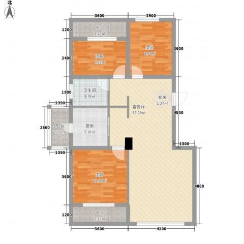 天麓3室1厅1卫1厨114.00㎡户型图