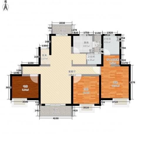 经纬城市绿洲四期泓汇地标3室1厅2卫1厨144.00㎡户型图