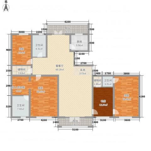 新新怡园二期4室1厅3卫1厨176.91㎡户型图