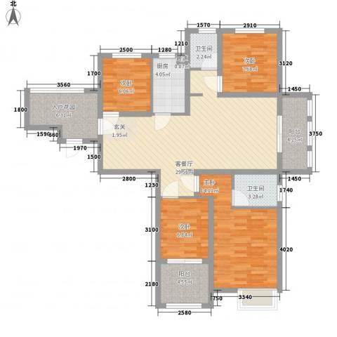 水岸观邸4室1厅2卫1厨130.00㎡户型图