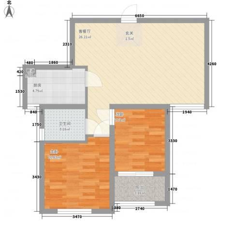水岸观邸2室1厅1卫1厨79.00㎡户型图