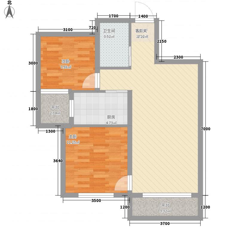 天麓85.60㎡1#2#3#4#C2户型2室2厅1卫1厨